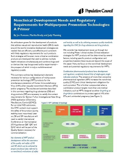 Nonclinical Development Needs and Regulatory Requirements for Multipurpose Prevention Technologies: A Primer