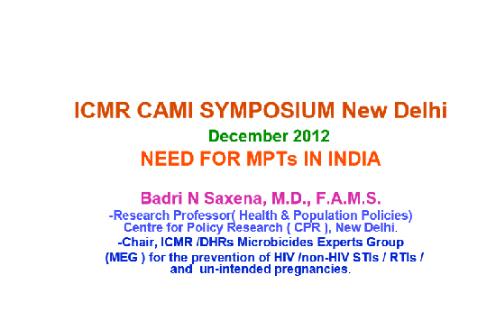 Need for MPTs in India
