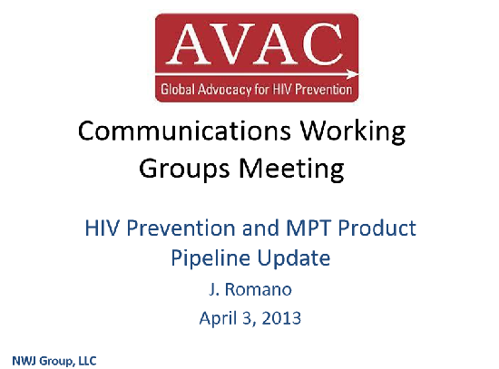 HIV Prevention and MPT Product Pipeline Update