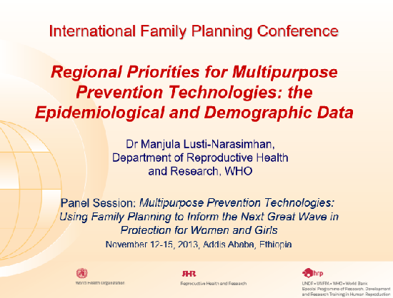 Regional Priorities for Multipurpose Prevention Technologies: the Epidemiological and Demographic Data