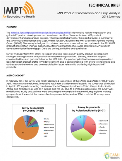 MPT Product Prioritization and Gap Analysis: 2014 Summary