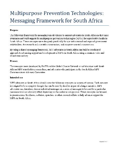 Multipurpose Prevention Technologies: Messaging Framework for South Africa