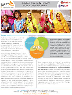 Building capacity for MPT product development