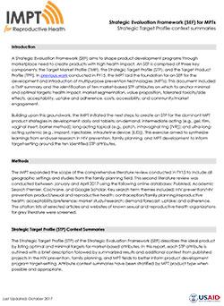 Strategic Evaluation Framework (SEF) for MPTs: Strategic Target Profile (STP) context summaries