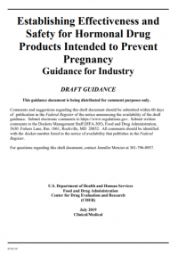 Establishing Effectiveness and Safety for Hormonal Drug Products Intended to Prevent Pregnancy: Guidance for Industry
