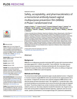 Safety, acceptability, and pharmacokinetics of a monoclonal antibody-based vaginal multipurpose prevention film (MB66): A Phase I randomized trial